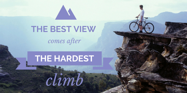 cyclist at top of steep mountain